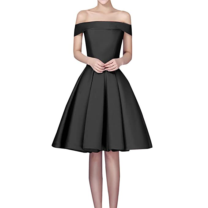 c7d18f830ce Image Unavailable. Image not available for. Colour  Vickyben Women s short  off Shoulder Satin Prom Dress Homecoming Dress Party Dress Ball Gown ...