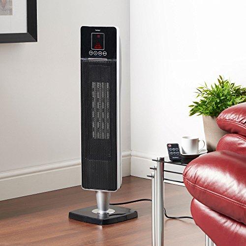 -[ VonHaus Oscillating Tower Fan Heater -Ceramic PTC 2000W – 2 Heat Settings, LED Display, Po