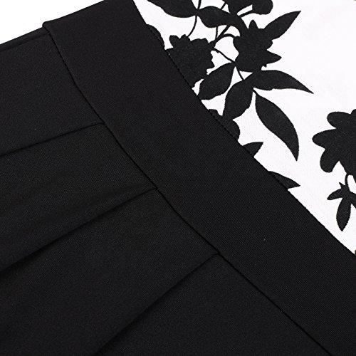 Vessos Women's Casual Flare Floral Contrast Short Sleeve Cocktail Party Dress (XX-Large, Black Flroal)