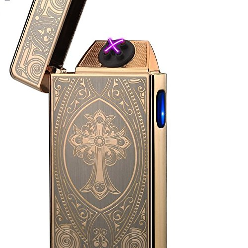 Beautiful Gold Cross Dual Arc Plasma Lighters USB Rechargeable Tesla Coil Windproof Flameless Tesla Electric Lighter for Cigar,Cigarette,Candle/Usb cord and gift box (Cross Cigarette Lighter)