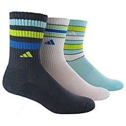 adidas Women\'s Retro II 3-Pack Crew Socks, Deepest Space Grey/White/Frozen Blue/Super Blue/Semi Solar Yellow, Medium