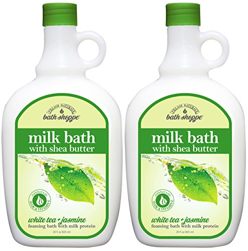 (Village Naturals Bath Shoppe, Milk Bath, White Tea and Jasmine, 28 Fl Oz, Pack of 2)