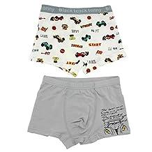 AmazingUSA Little Boys' 2 Pack Cotton Carton Underwear Cars