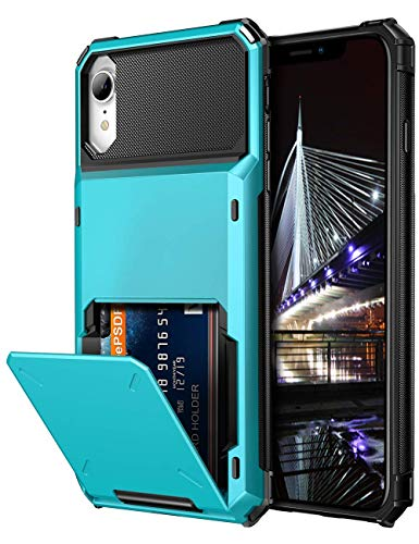 Vofolen Case for iPhone XR Case 10R Wallet ID Slot Credit Card Holder Spring Pocket Scratch Resistant Dual Layer Protective Bumper Rugged TPU Rubber Armor Hard Shell Cover for iPhone XR 10R Light Blue (Hard Shell Iphone 4 Case)