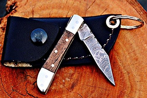 Custom Handmade Damascus Steel Mini Trapper Folding Knife, Rose Wood Handle -
