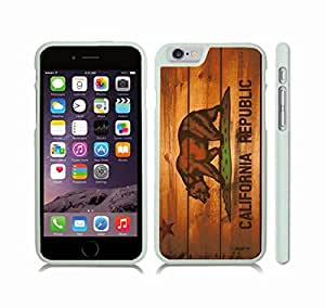 iStar Cases? iPhone 6 Plus Case with California Republic Flag With Wood Look Design , Snap-on Cover, Hard Carrying Case (White)
