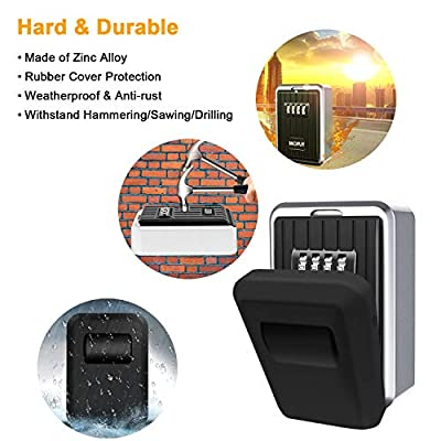 Key Lock Box with 4-Digit Combination, Lock Box for House Key, Wall Mounted Weatherproof Resettable Code Key Lock Box for Outside, Ideal for Homes Hotels Schools and Businesses (With Waterproof Cover)