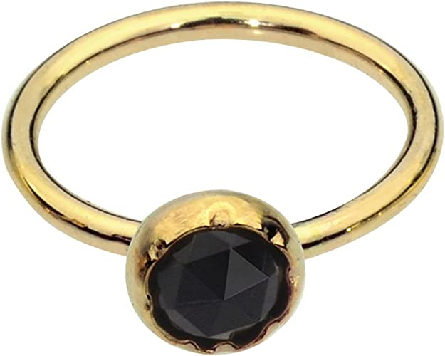 Sampson Nose Ring Nose Stud 14K Yellow Gold Filled 20 Gauge Set With a 3mm Black Onyx