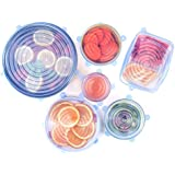 Silicone Stretch Lids 2018 Upgrade Version(6-Pack of Various Sizes),Reusable Durable Food Covers,Expandable to Fit Various Sizes and Shapes,Keep Food Fresh Dishwasher Freezer Safe (Blue)