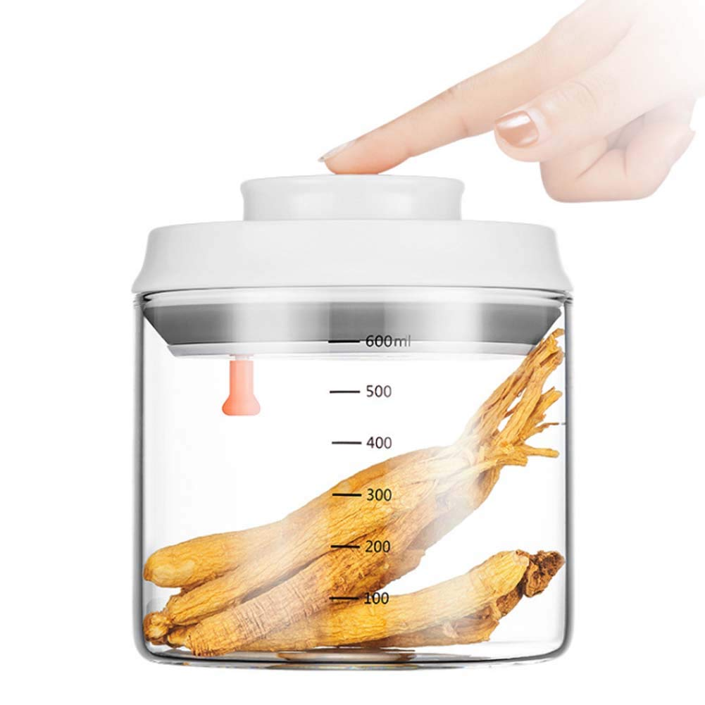 CASILE Round Milk Powder Storage Container -Glass Transparent Airtight Food Storage Keeps Food Fresh and Dry,600ML