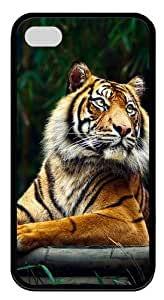 iPhone 4s Case & Cover - Siberian Tiger TPU Silicone Case Cover for iPhone 4 and iPhone 4s - Black