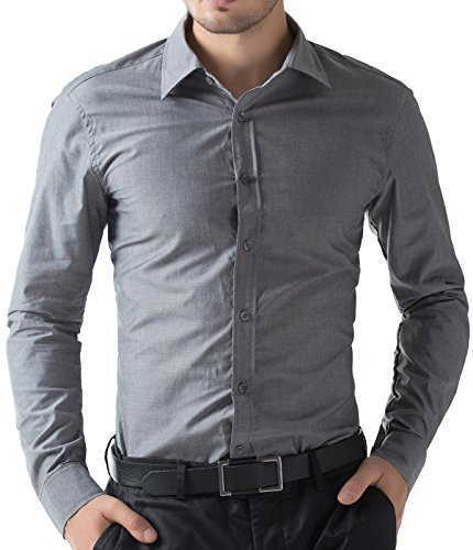 PAUL JONES Mens Long Sleeve Fitted Dress Shirts Dark Grey Business Casual Shirt ()