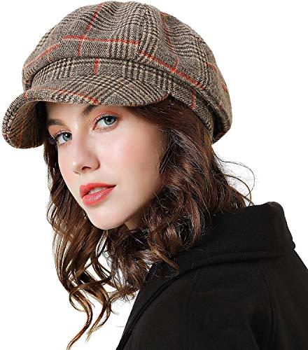 - Womens Newsboy Cap Wool Visor Cabbie Fiddler Winter Spring Octagonal Paperboy Hat Girls Gift Brown