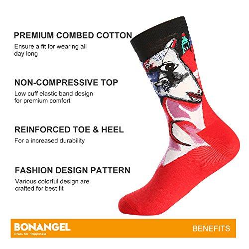 Bonangel Men's Fun Dress Socks-Colorful Funny Novelty Crew Socks Pack,Art Socks by Bonangel (Image #1)'