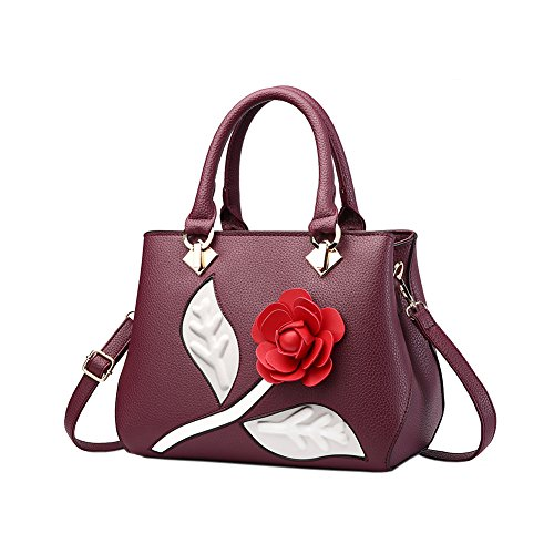 Fantastic Zone Roses Women Handbags Fashion Handbags for Women PU Leather Shoulder Bags Tote Bags Purse (Rose Purse Purple Leather)