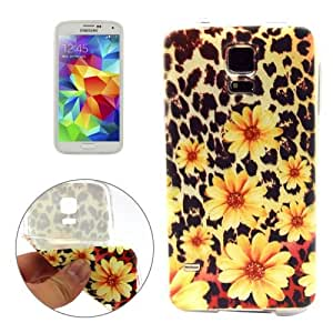 Daisy and Leopard Background Pattern Protective Case Cover Carcasa de TPU Para Samsung Galaxy S5 G900