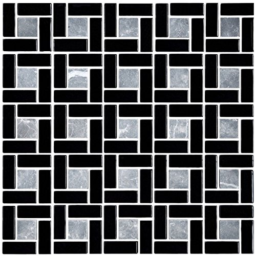 HYH 8mm Thickness Glass/Stone Blend Mesh-mounted Mosaic Tile Sheet for Kitchen Backsplash Bathroom Wall and Swimming Pool 12 In. X 12 In.(A15454-B) Lot of 5 Sheets by HYH (Image #4)