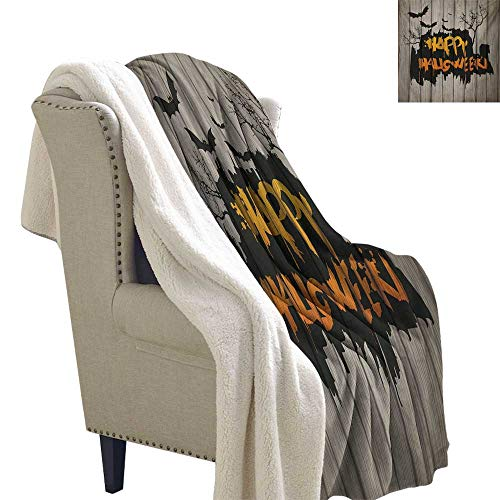 Halloween Digital Printing Blanket 60x32 Inch Happy Graffiti Style Lettering on Rustic Wooden Fence Scary Evil Holiday Artwork car Blanket Multicolor ()