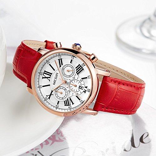 MEGIR Watches for Women Quartz Sport Chronograph Red Leather Strap Stylish Dress Wrist Watch by MEGIR (Image #8)