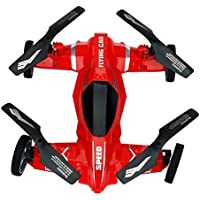 Dwi Dowellin Fly car/Drive 6-axis Gyro 360°Flip Quadcopter Flying Car RC Air-land Amphibious Drone Kids Remote Control Toys 125 red