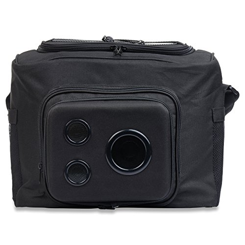 THE #1 Cooler with Speakers on Amazon. 15-Watt Bluetooth Speakers & Subwoofer for Parties / Festivals / Boat / Beach. Rechargeable, Works with iPhone & Android (Black, 2018 Edition)