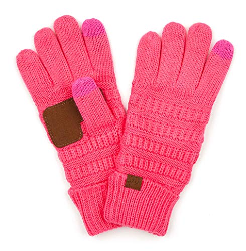 Glove Pink Womens (G2-6020a-80 CC Knitted Lined Gloves - Candy Pink)