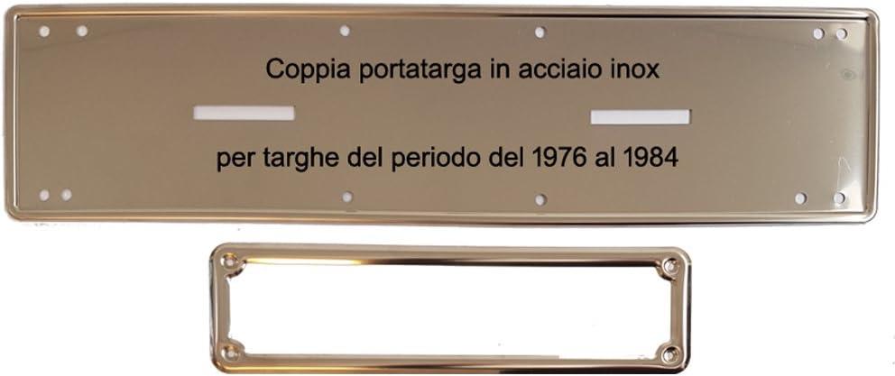 Coppia Portatarga//Cornice Affiancato IN ACCIAIO INOX dal 1976 al 1984