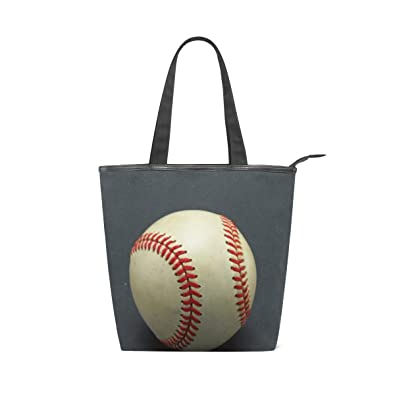 Baseball Canvas Tote Bags Leather Tote Handbags for Women Shopping ... 4192441189