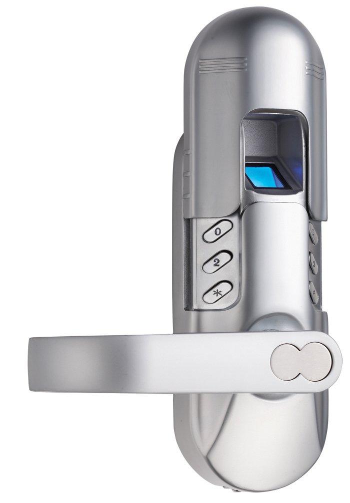 Weatherproof Keyless Electronic Keypad and Fingerprint Door Lock Model 6600-98 (Satin Nickel) Left Lever Handle ASSAABLOY DIGI 6600-98SN