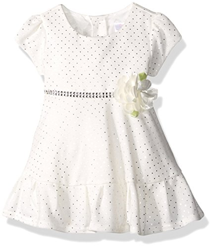 Youngland Baby Girls Sparkle Sweater Knit Dress with Flower Detail, Ivory, 18M