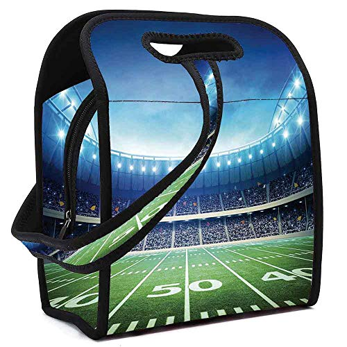 Football Portable Neoprene Lunch Bag,Photo of American Stadium Green Grass Arena Playground Bleachers Event Match for Work Office Picnic Travel Mom Bag,Square(8.5''L x 5.5''W x 11''H)