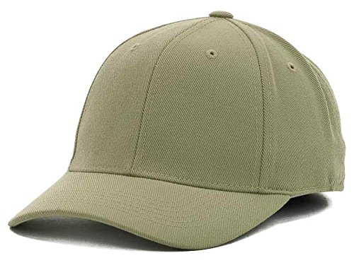 Top Of The World By Lids HOME RUN One-Fit Stretch Fitted Blank Baseball Hat Cap (One Size Fits Most, Khaki) ()