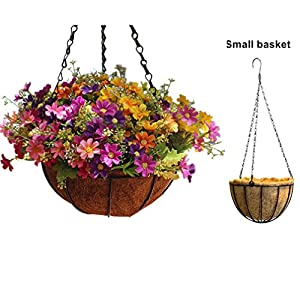 Mynse Daisy Flower Artificial Hanging Plant Home Balcony Indoor Outdoor Decor Fake Flower Hanging Basket with Chain Flowerpot 2