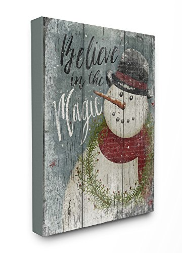 Stupell Home Décor Believe in Magic Snowman Stretched Canvas Wall Art, 16 x 1.5 x 20, Proudly Made in USA