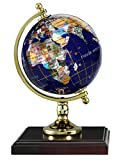 "Replogle Desktop Gemstone Globe - Handcrafted with Precious Stones, Ideal for Home or Office Décor, Padded Gift Box Included, Perfect Gift for Any Occasion (4""/10 cm diameter)"