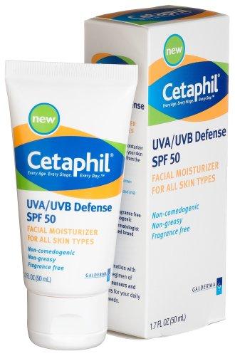 Cetaphil UVA / UVB Défense SPF 50 Visage Hydratant, 1,7 onces (pack de 2)