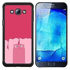 EJOOY---Cubierta de la caja de protección para la piel dura ** Samsung Galaxy A8 A8000 ** --Gato rosado del dibujo del arte cómico felino personaje