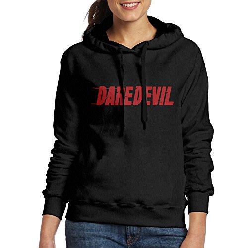 Bekey Women's Daredevil Letter Hoodie Sweatshirt XXL Black