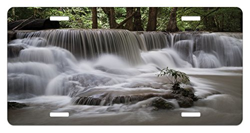 (Lunarable Waterfall License Plate, Mystic Waterfall in Forest Trees with Splashing Water Babbling Brook, High Gloss Aluminum Novelty Plate, 5.88