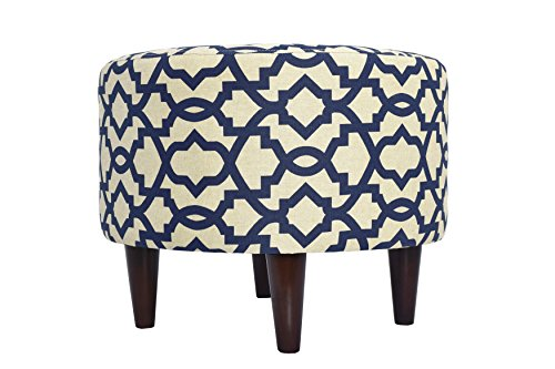 Cheap MJL Furniture Designs Sophia Collection Fabric Upholstered Round Footrest Ottoman with Round Espresso Finished Legs, Sheffield Series, Indigo