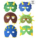 Dinosaur Mask 12 Pack for Kids Boys Girls, Foam Masks for Dinosaur Birthday Party Supplies, Dress-Up, Halloween Party Favors, Costume with Elastic Strap - by OOTSR