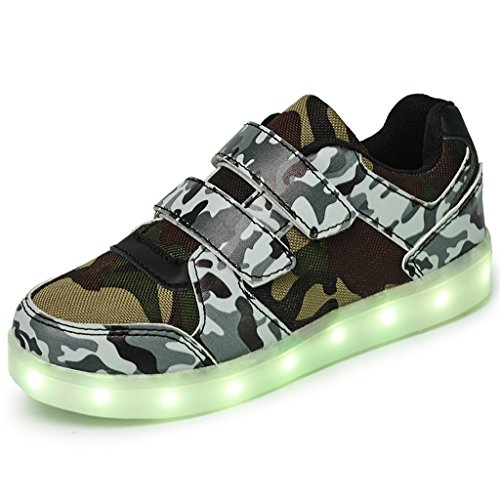 Dogeek Light Up Zapatos Led Angel Wings Zapatos Niños Brillante Zapatos Boy Girl Tenis Led Trainers Marrón