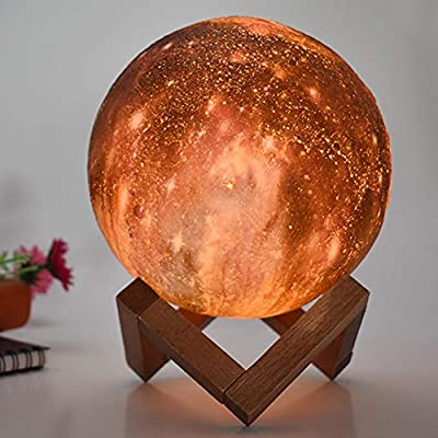 HYODREAM 3D Printing Moon Lamp Moon Light Kids Night Light 16 Color Change Touch and Remote Control Galaxy Light As a Gift Ideas for Boys or Girls(5.9inch): Home & Kitchen