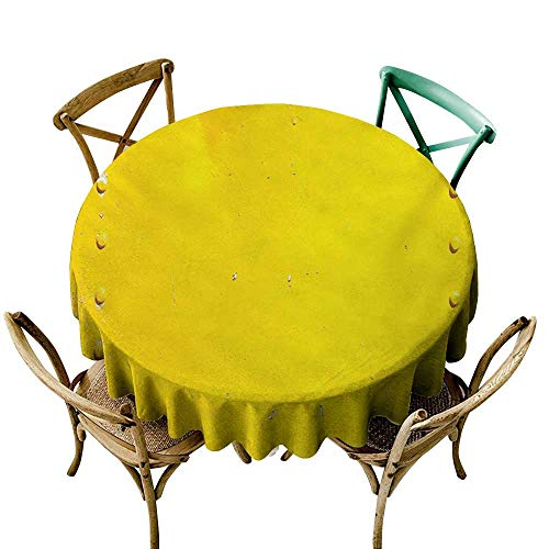 Wendell Joshua The Pattern Round Table Cloth 70 inch Yellow,Vintage Worn Out Dirty Industrial Wall Plate and Tacks Photo with Productivity Theme,Yellow Suitable for Indoor Outdoor Round Tables