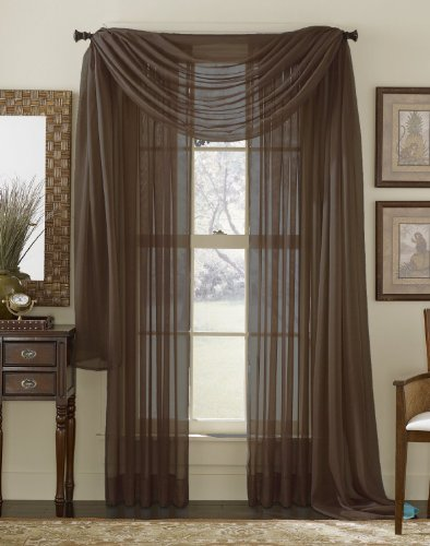 Chocolate Window - HLC.ME Chocolate Brown Sheer Voile Window Curtain Scarf - Valance - Fully Stitched & Hemmed - 56