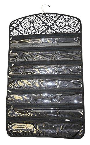 Pewter Earings (Ever Moda Damask Tri-fold Hanging Jewelry Organizer Bag (Black))