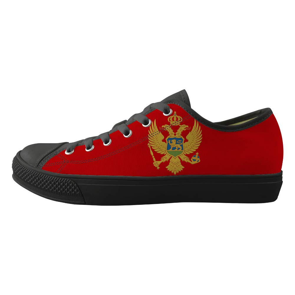 Classic Sneakers Unisex Adults Low-Top Trainers Skate Shoes Montenegro Flag