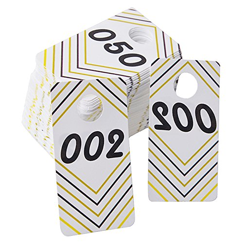 DJDZ 100 Pieces Reusable Consecutive (001-100) Live Sale Plastic Number Tags with Normal and Reversed Mirrored Numbers