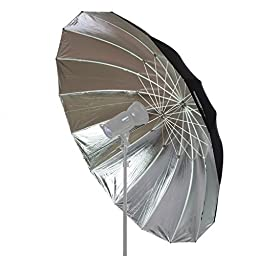 StudioPRO Professional Strobe Speedlight Flash Reflector Silver Black Reflective Parabolic Umbrella - 6 feet