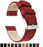 Barton Quick Release Top Grain Leather Watch Band Strap - Choose Color - 16mm, 18mm, 20mm, 22mm Or 24mm - Crimson Red 18mm